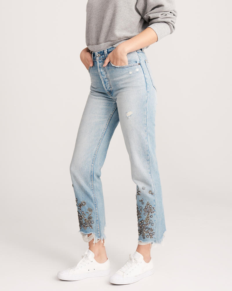 High Rise Ankle Embellished Straight Jeans by Abercrombie & Fitch