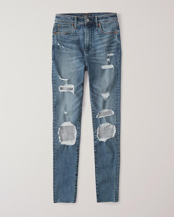 Damen High Rise Super Skinny Jeans mit Rissen   Damen