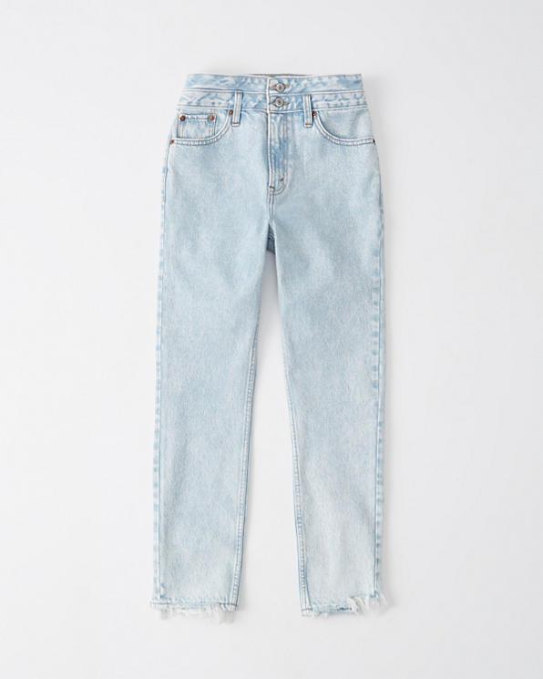 Damen High Rise Mom Jeans mit doppeltem Bund   Damen