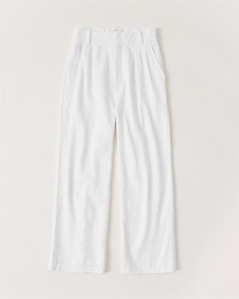 ANFLinen-Blend Pleated Wide Leg Pants
