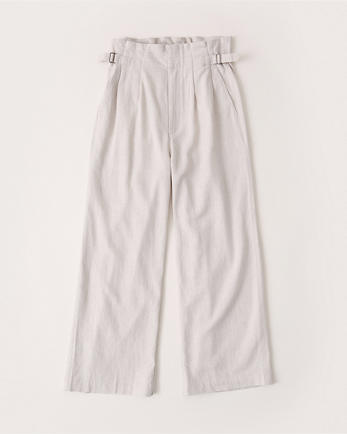 ANFLinen-Blend Wide-Leg Cropped Pants