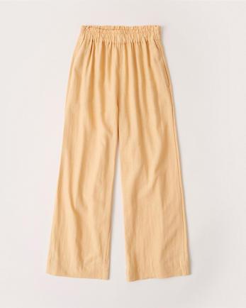 ANFLinen-Blend Wide-Leg Pants