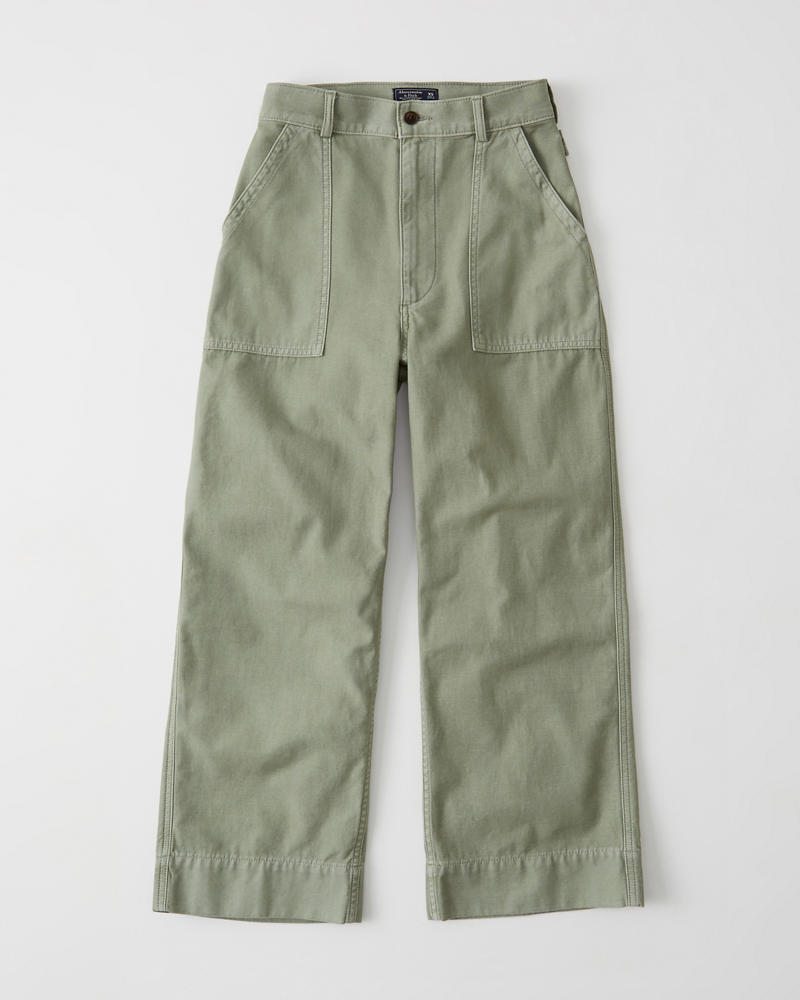 d80645094f Womens Cropped Wide-Leg Military Pants | Womens Sale | Abercrombie.com
