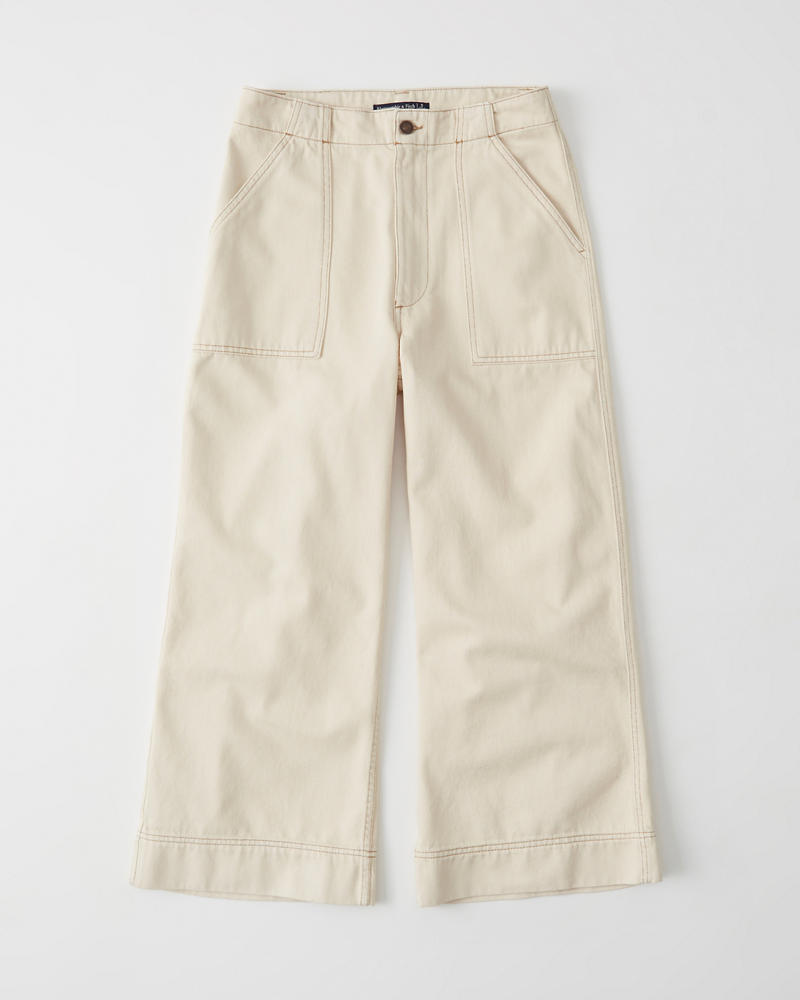 Cropped Twill Pants by Abercrombie & Fitch