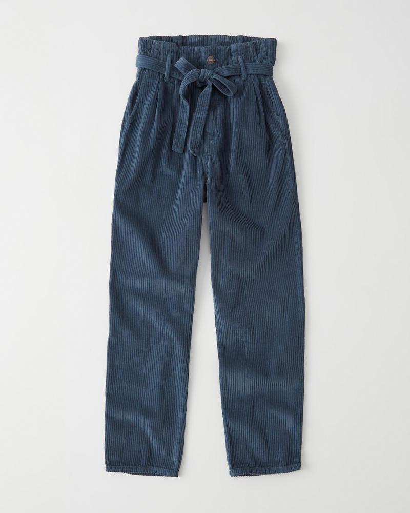 0fd794c25c2af4 Womens Paperbag Waist Corduroy Pants