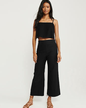 0df610561 Cropped Ultra High Rise Linen-Blend Pants, BLACK