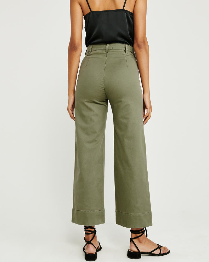 hete nieuwe producten geen verkoopbelasting uitstekende kwaliteit Dames Cropped broek met wijde pijpen en een hoge taille ...