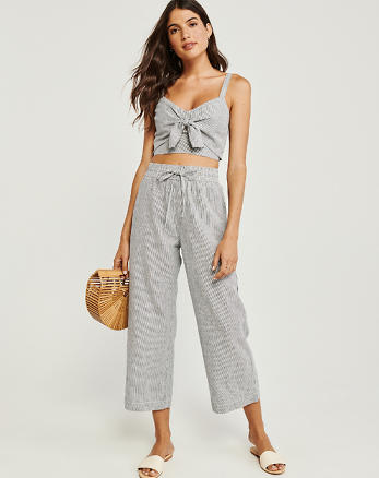 8547e390b Cropped Wide Leg Linen-Blend Pants, GREY STRIPE