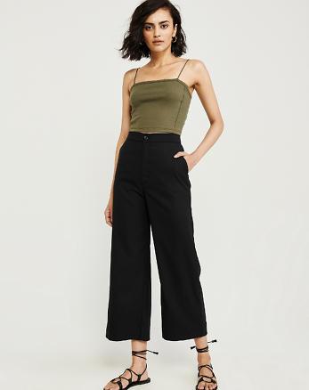 1ca3f0801fc0cb Cropped Ultra High Rise Wide Leg Pants, BLACK
