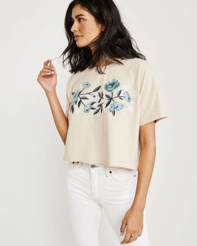 Relaxed Embroidered Graphic Tee by Abercrombie & Fitch