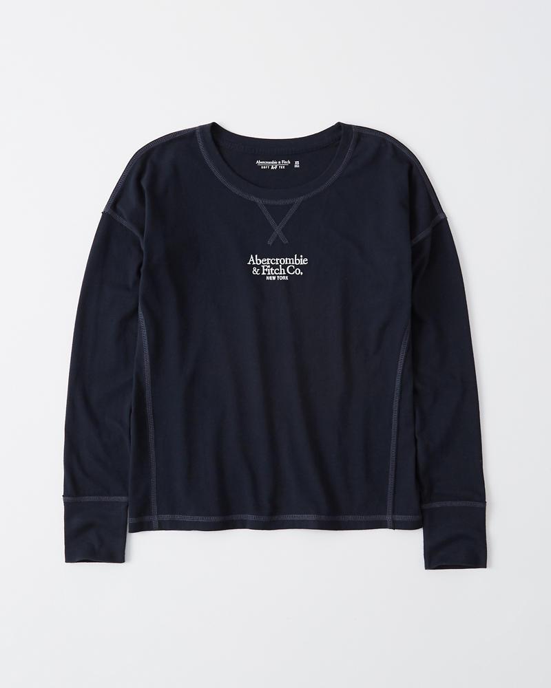 Dames T shirt met lange mouwen en klein logo   Dames Tops