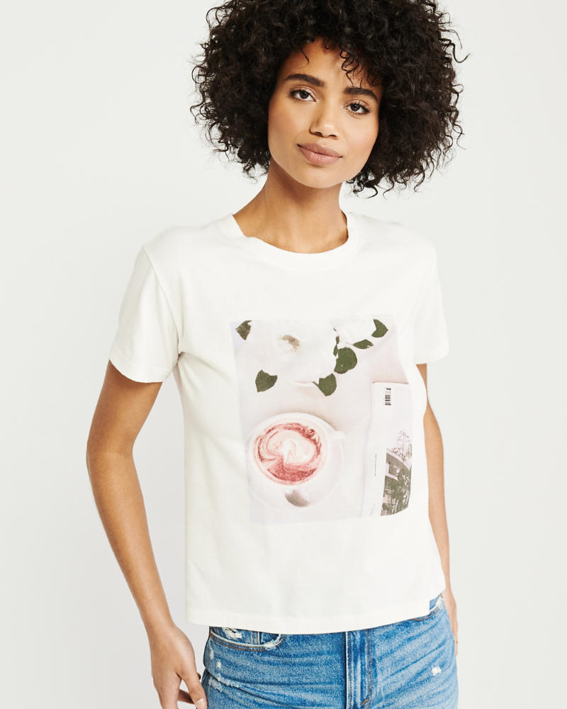 6cb57fc87d52 Mujer Camiseta con estampa fotográfica de mangas cortas   Mujer ...