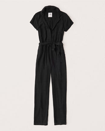 ANFShort-Sleeve Collared Jumpsuit