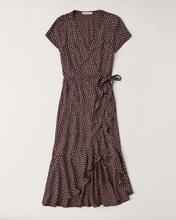 ANFShort-Sleeve Ruffle Hem Midi Dress
