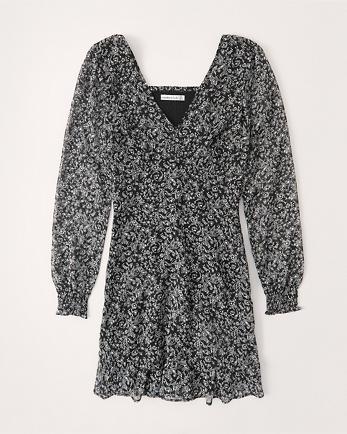 ANFLong-Sleeve Ruffle Hem Dress
