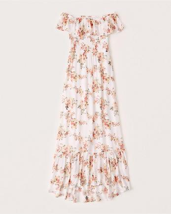 ANFOff-The-Shoulder Smocked Maxi Dress