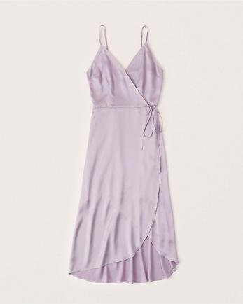 ANFSatin Wrap Midi Dress