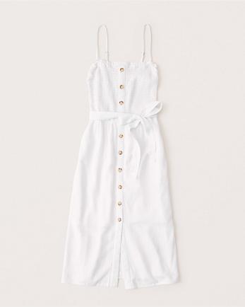 ANFButton-Up Smocked Midi Dress