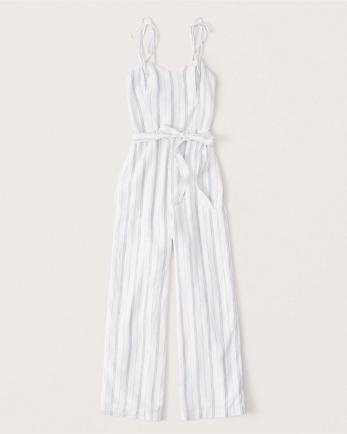 ANFTie-Strap Linen Blend Jumpsuit