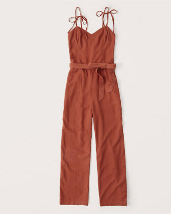 ANFTie-Strap Linen-Blend Jumpsuit