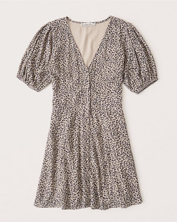 ANFPuff-Sleeve Button-Front Mini Dress