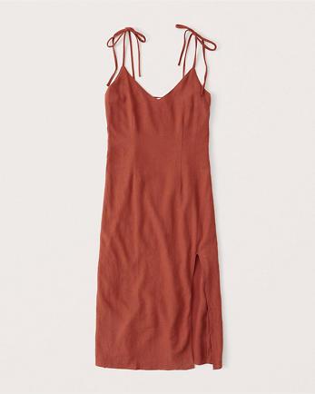 ANFLinen-Blend Midi Dress
