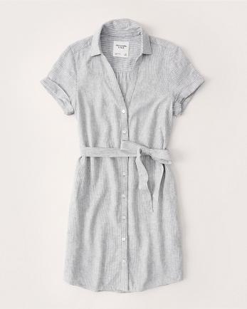 ANFLinen-Blend Shirt Dress