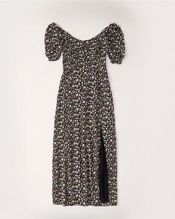 ANFPuff-Sleeve Midi Dress