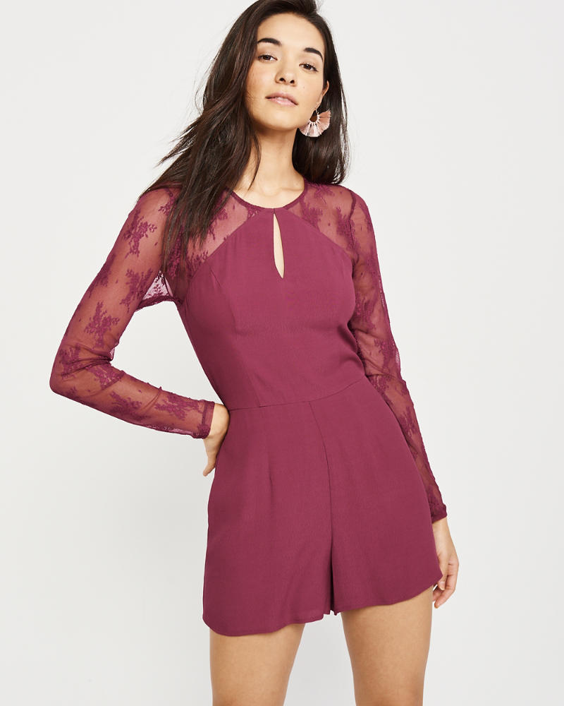 Lace Sleeve Romper by Abercrombie & Fitch