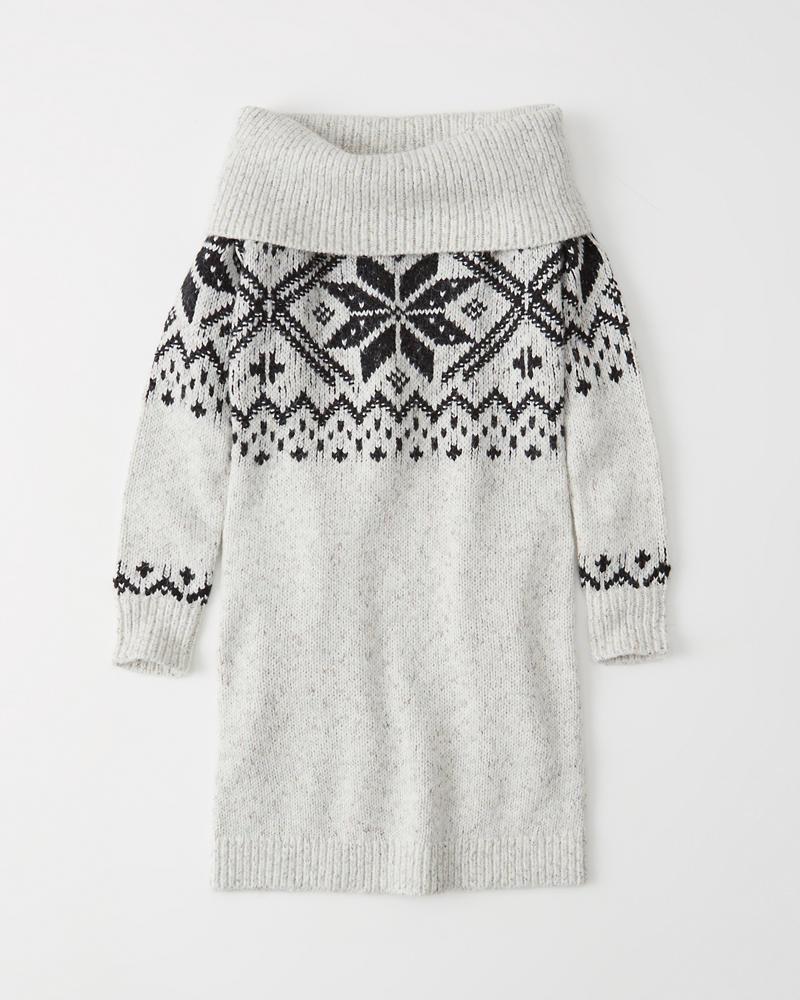 Womens Off The Shoulder Fair Isle Sweater Dress Womens Sale