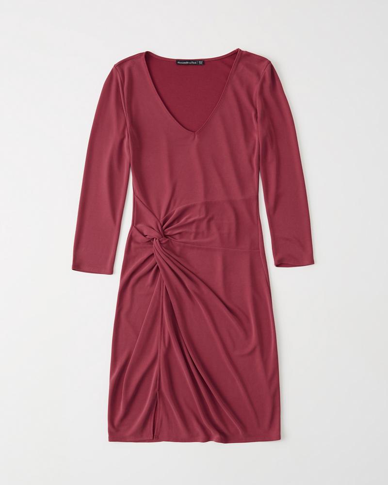 345b6a245d4 Womens Long-Sleeve Knot Front Dress
