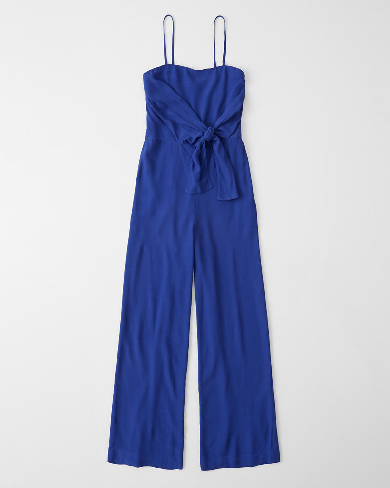 ff36fbb10388 Womens Strapless Tie-Front Jumpsuit