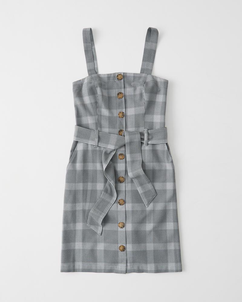 eb1fceac033 Womens Button-Up Pinafore Dress