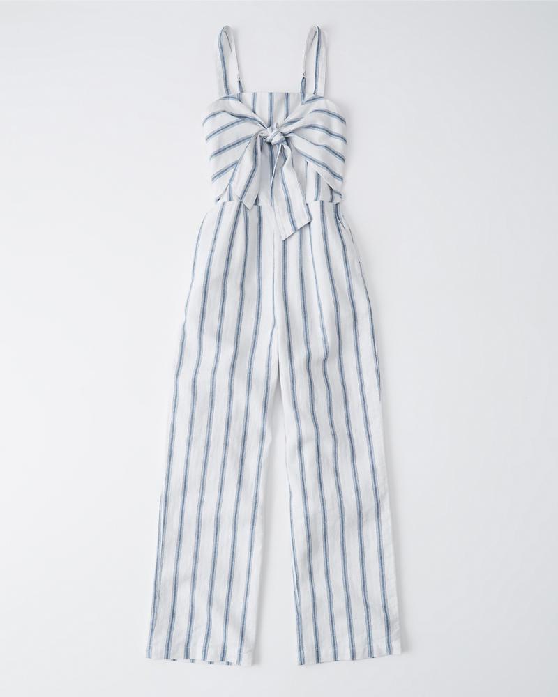 f8abc4f19dc Womens Tie-Front Linen-Blend Jumpsuit