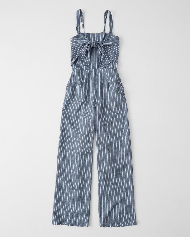 3748c78d28 Womens Tie-Front Linen-Blend Jumpsuit