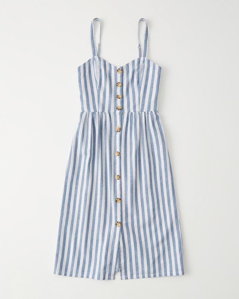 5cde221b4 Mujer Vestido de largo medio con tirantes finos y botones
