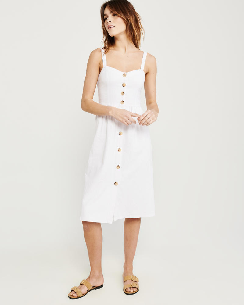 2f2e656fd9 Womens Button-Up Cami Midi Dress | Womens Sale | Abercrombie.com