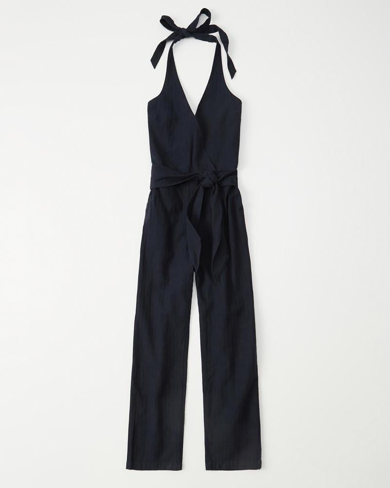 67ee985c09d Womens Tie-Front Halter Jumpsuit