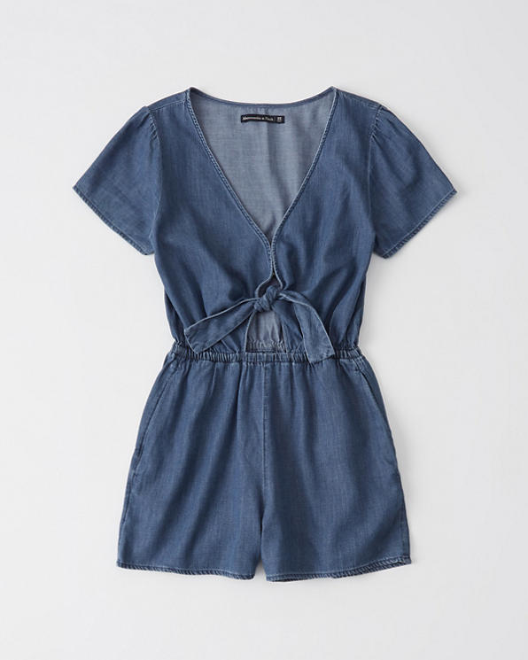 Womens Tie-Front Chambray Romper   Womens Dresses & Rompers