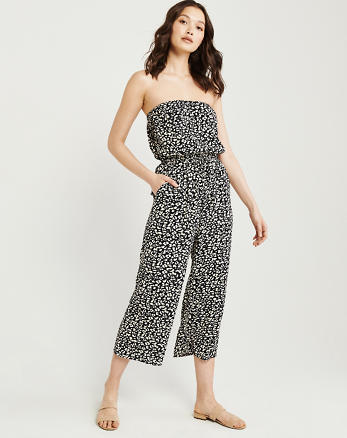 415325cefe887 Strapless Drawstring-Waist Jumpsuit, BLACK PATTERN