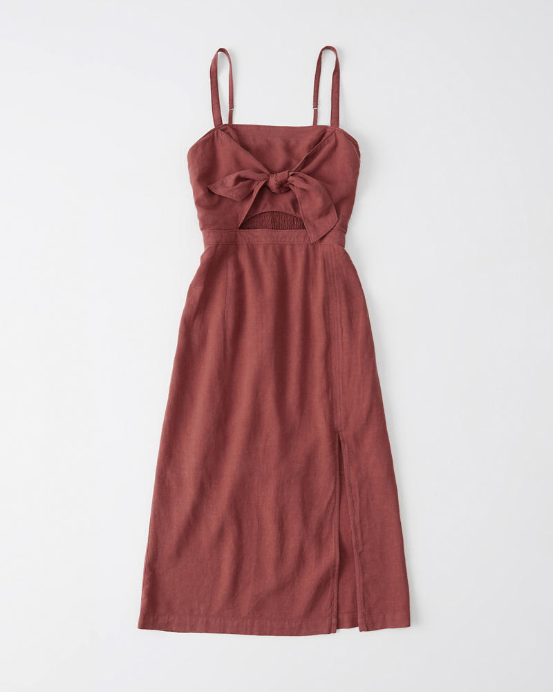 Cutout Front Linen Blend Midi Dress by Abercrombie & Fitch