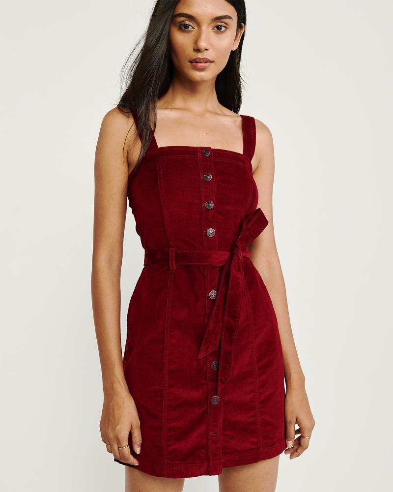 Button-Up Corduroy Dress