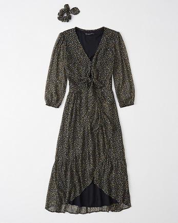 ANFRuffle Hem Midi Dress With Matching Scrunchie