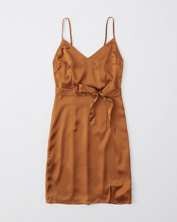 ANFSatin Belted Cami Mini Dress