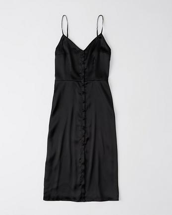 ANFButton-Through Satin Midi Dress