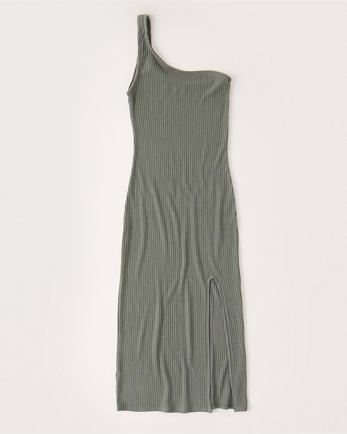 ANFOne-Shoulder Knit Midi Dress