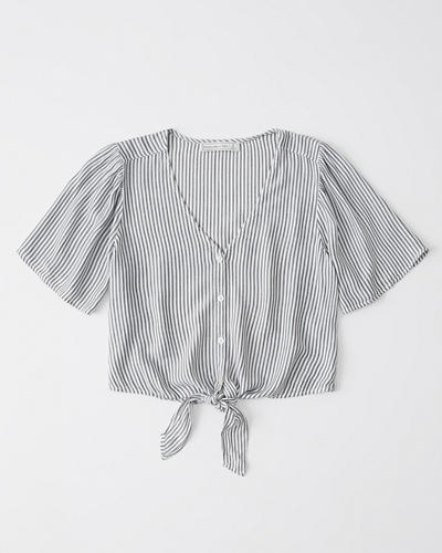 89eb9e1fc64 Womens Short-Sleeve Tie-Front Top | Womens Tops | Abercrombie.com