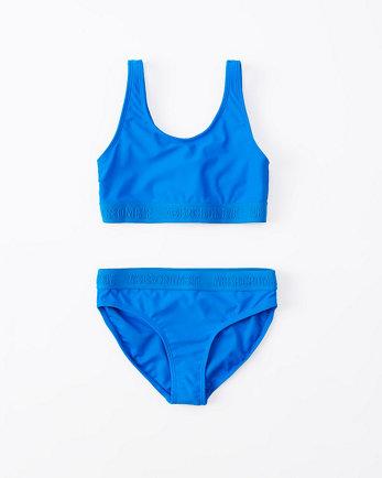 kidstwist-back two-piece logo swimsuit
