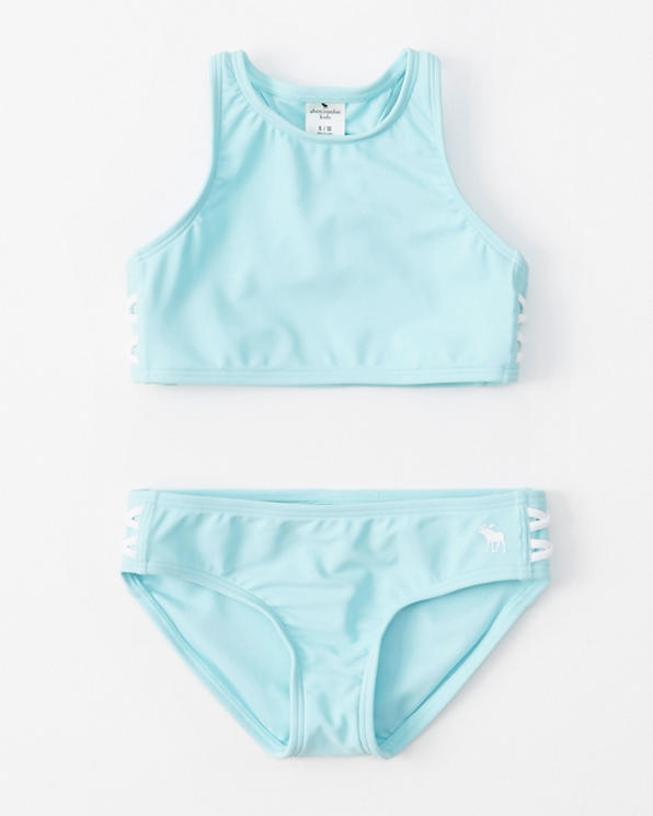 302a92ad07981 girls high-neck lace-up two-piece swimsuit | girls swimsuits ...
