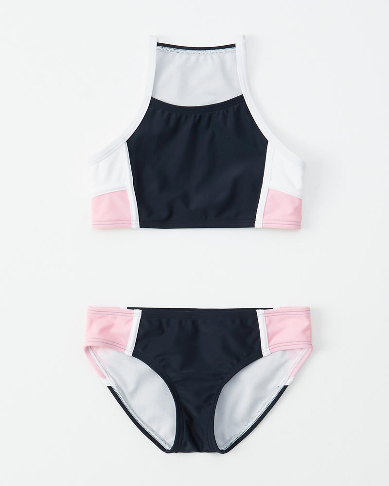 fed7265e53834 girls colorblock high-neck two-piece swimsuit | girls swimsuits ...